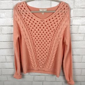 Ruby Moon Peach Ribbed Knit Sweater Size M